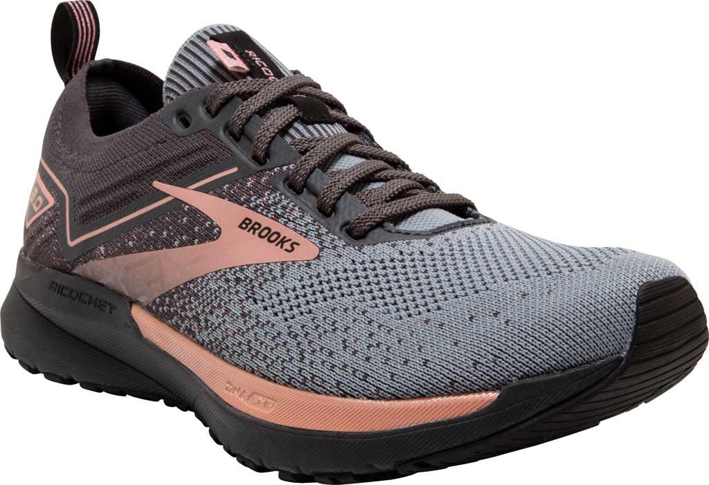 Women's Brooks Ricochet 3 Running Sneaker, Grey/Black/Rose Gold, large, image 1