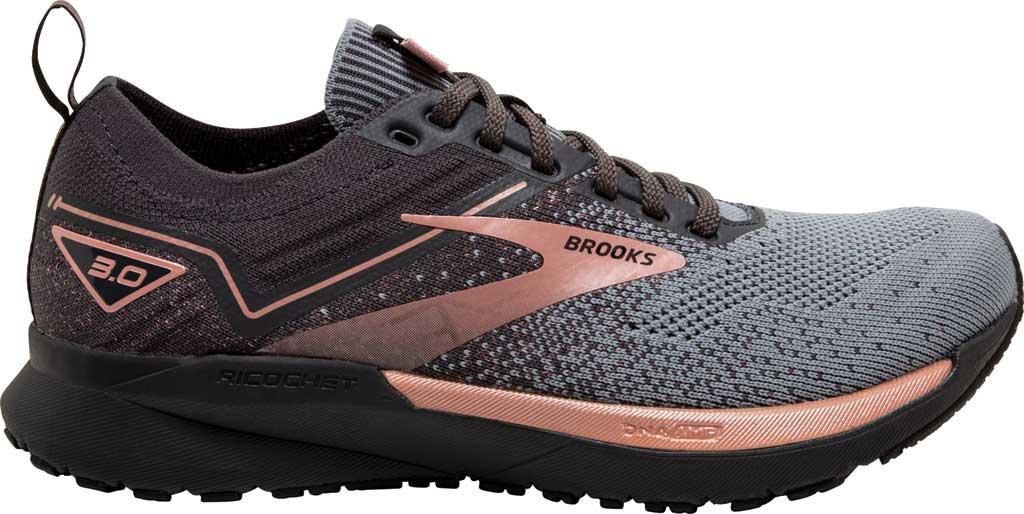 Women's Brooks Ricochet 3 Running Sneaker, Grey/Black/Rose Gold, large, image 2