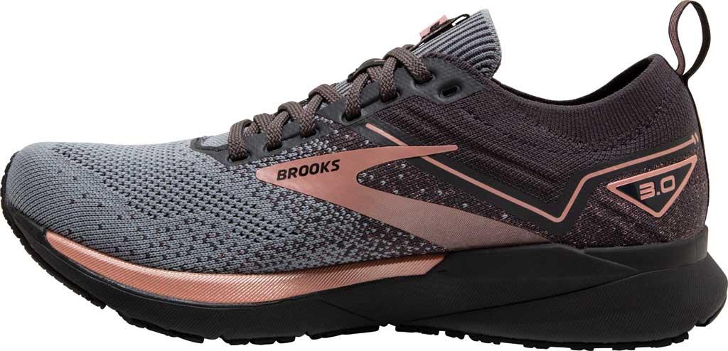 Women's Brooks Ricochet 3 Running Sneaker, Grey/Black/Rose Gold, large, image 3