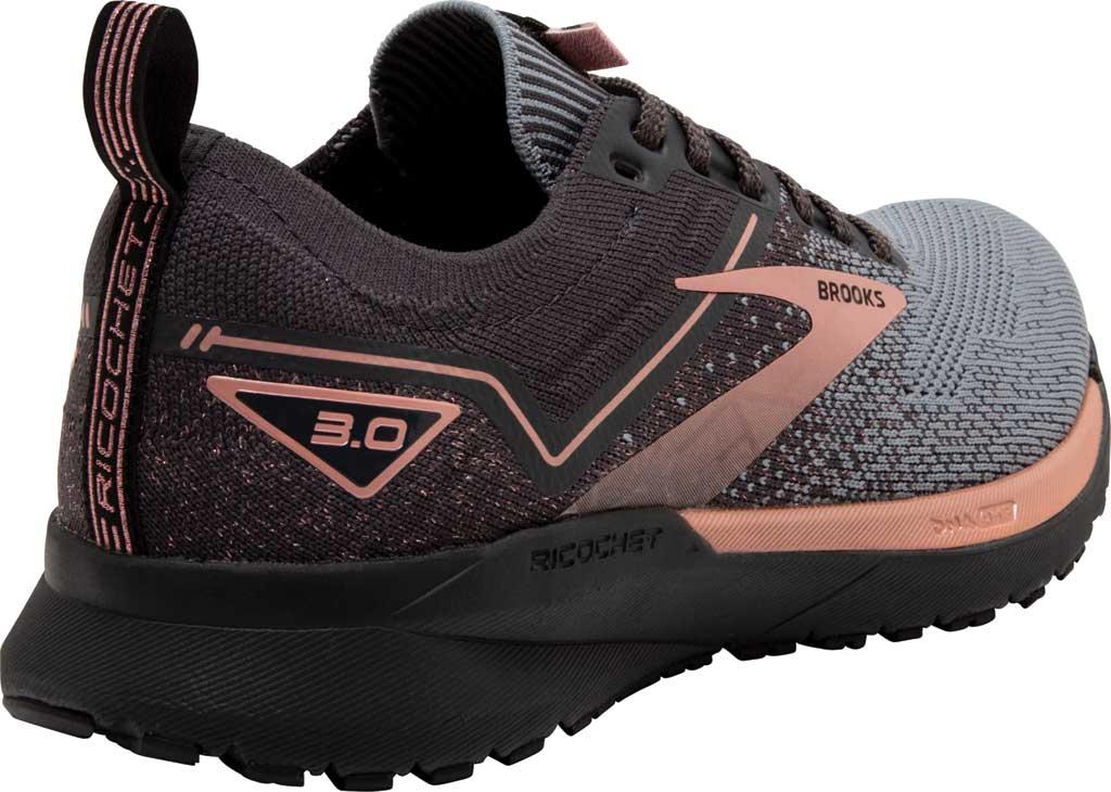 Women's Brooks Ricochet 3 Running Sneaker, Grey/Black/Rose Gold, large, image 4