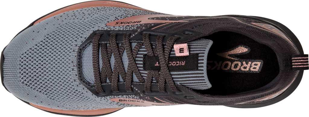 Women's Brooks Ricochet 3 Running Sneaker, Grey/Black/Rose Gold, large, image 5