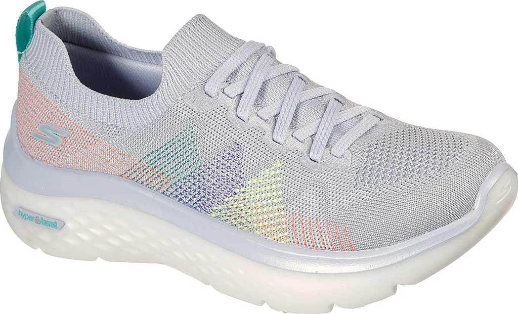 Women's Skechers GOwalk Hyper Burst Rocky Pines Vegan Sneaker, Light Gray/Multi, large, image 1