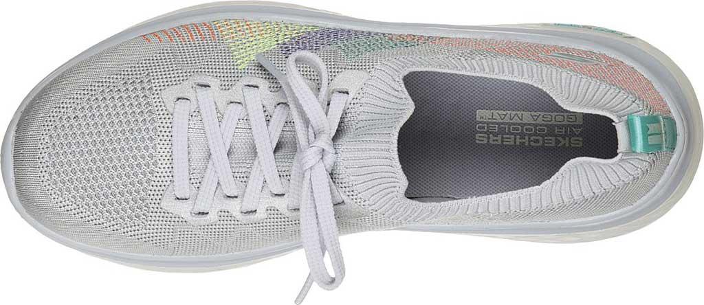 Women's Skechers GOwalk Hyper Burst Rocky Pines Vegan Sneaker, Light Gray/Multi, large, image 4
