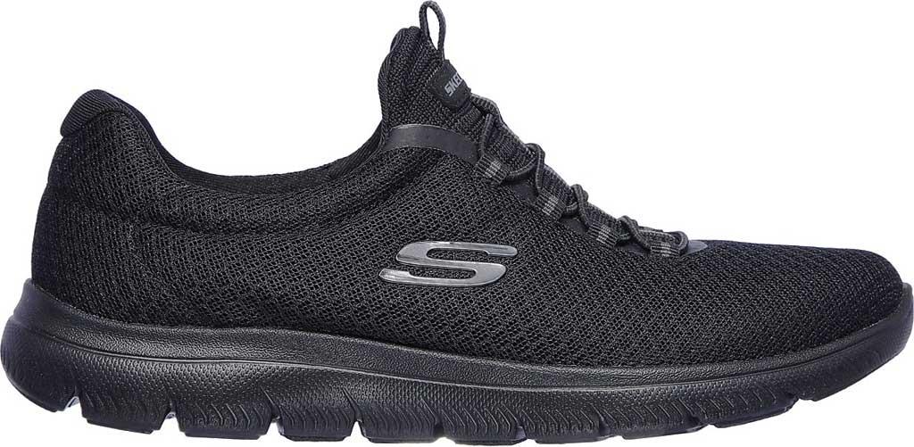 Women's Skechers Summits Sneaker, Black/Black, large, image 2