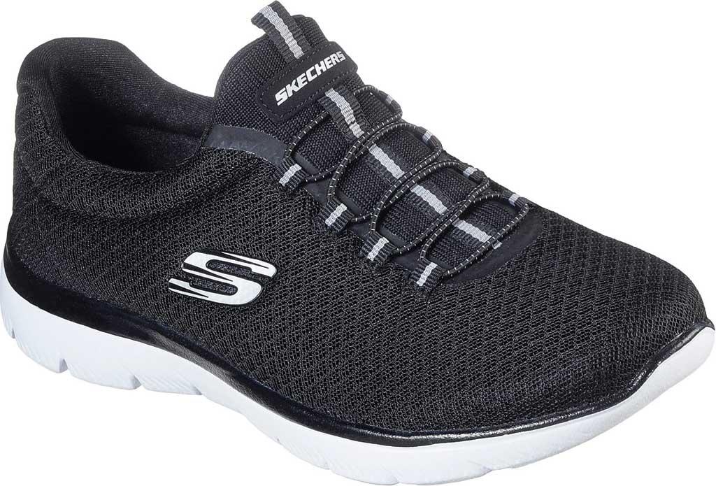 Women's Skechers Summits Sneaker, Black/White, large, image 1