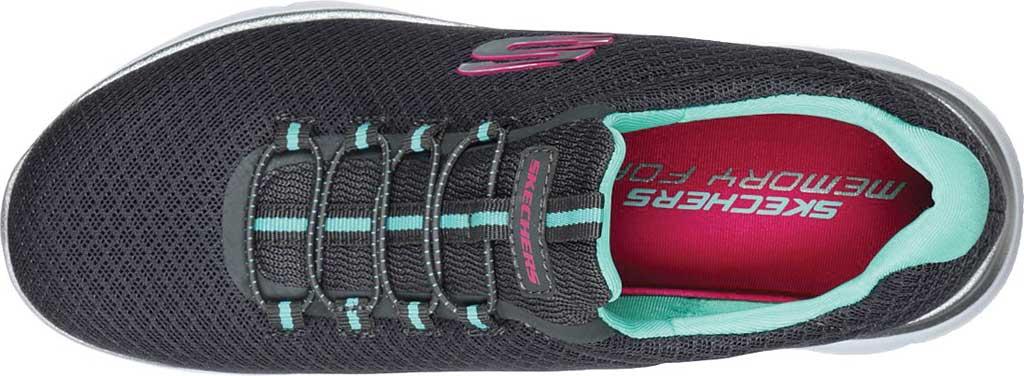 Women's Skechers Summits Sneaker, Charcoal/Green, large, image 4