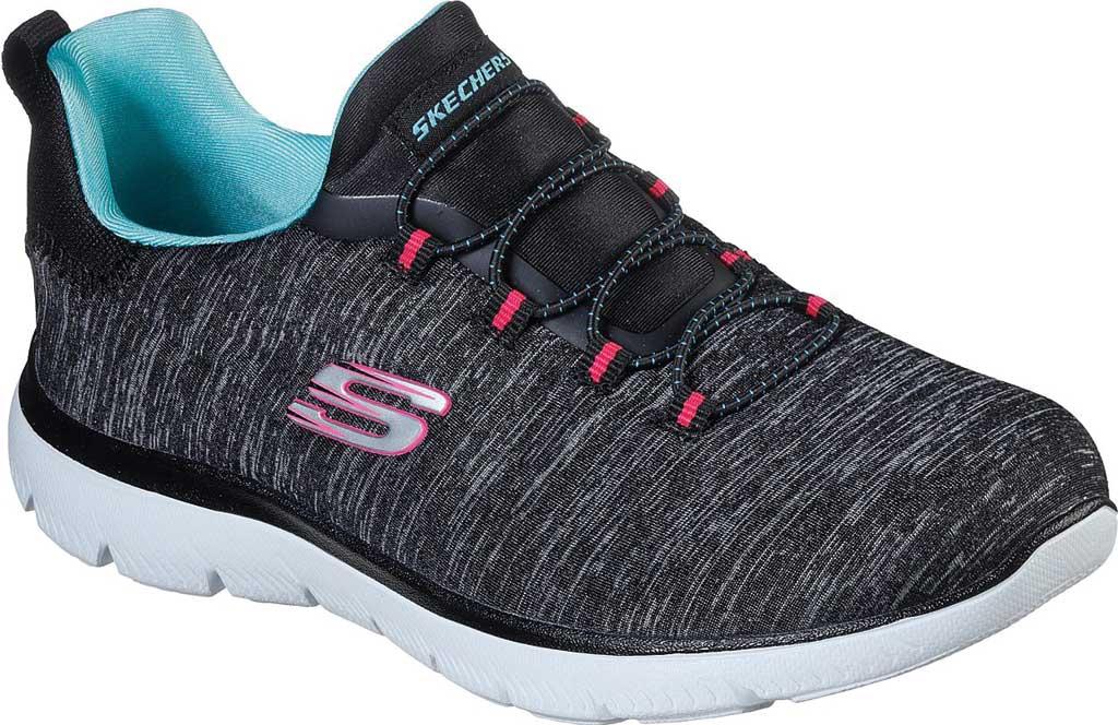 Women's Skechers Summits Quick Getaway Sneaker, Black/Light Blue, large, image 1