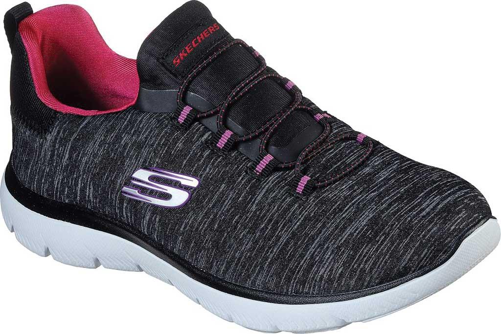 Women's Skechers Summits Quick Getaway Sneaker, Black/Pink, large, image 1