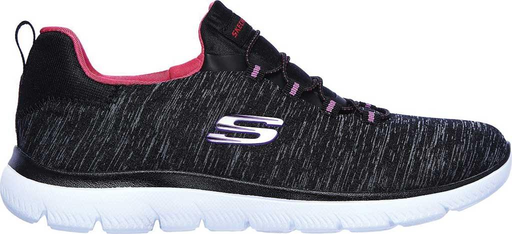 Women's Skechers Summits Quick Getaway Sneaker, Black/Pink, large, image 2