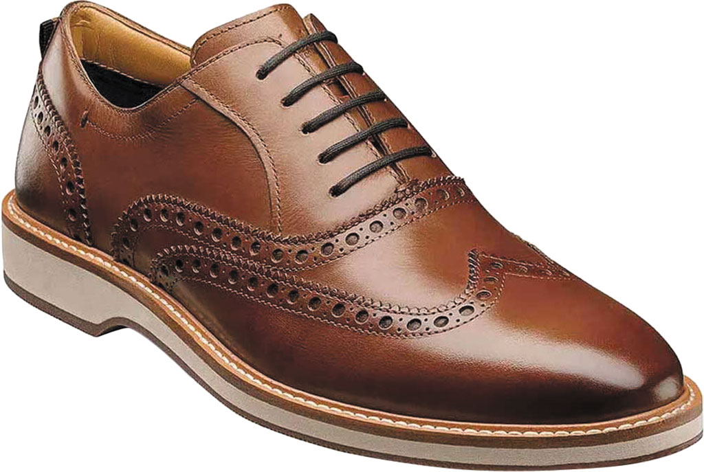 Men's Florsheim Manhattan Wingtip Oxford, Cognac Smooth Leather, large, image 1