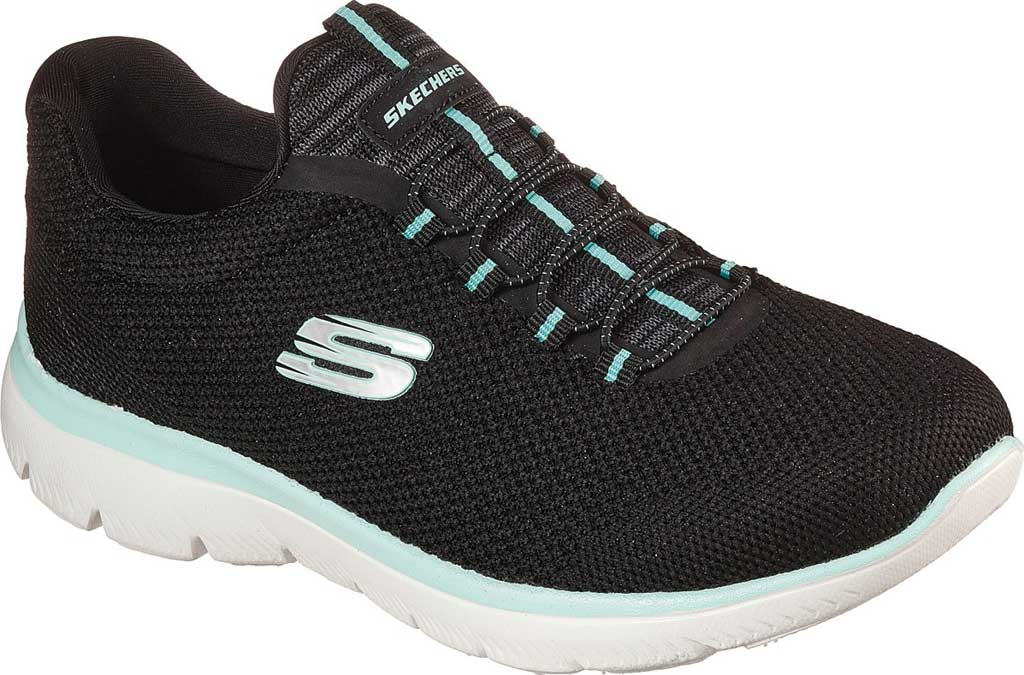 Women's Skechers Summits Cool Classic Sneaker, Black/Turquoise, large, image 1