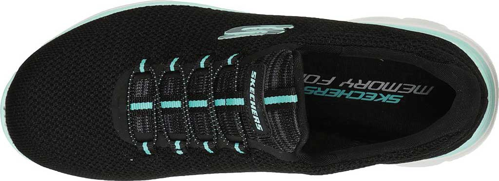 Women's Skechers Summits Cool Classic Sneaker, Black/Turquoise, large, image 4