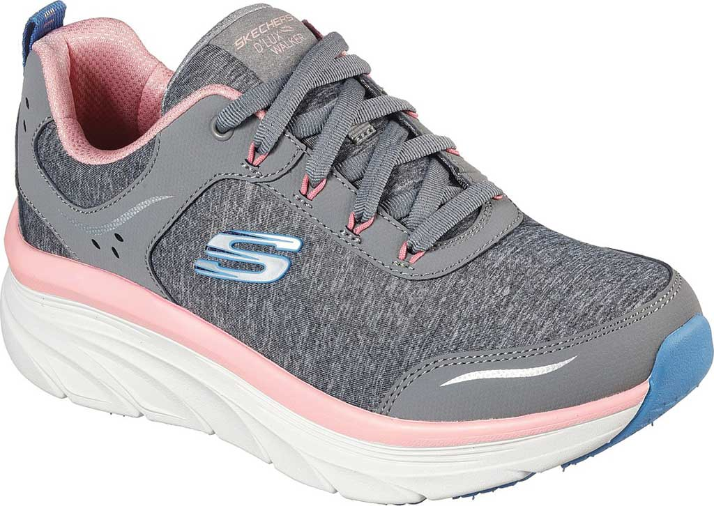 Women's Skechers Relaxed Fit D'Lux Walker Cool Groove Sneaker, Gray/Pink, large, image 1