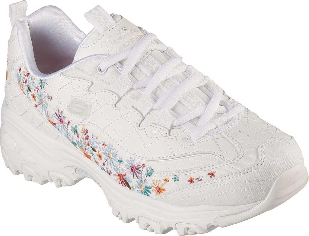 Women's Skechers D'Lites Floral Motion Sneaker, White, large, image 1