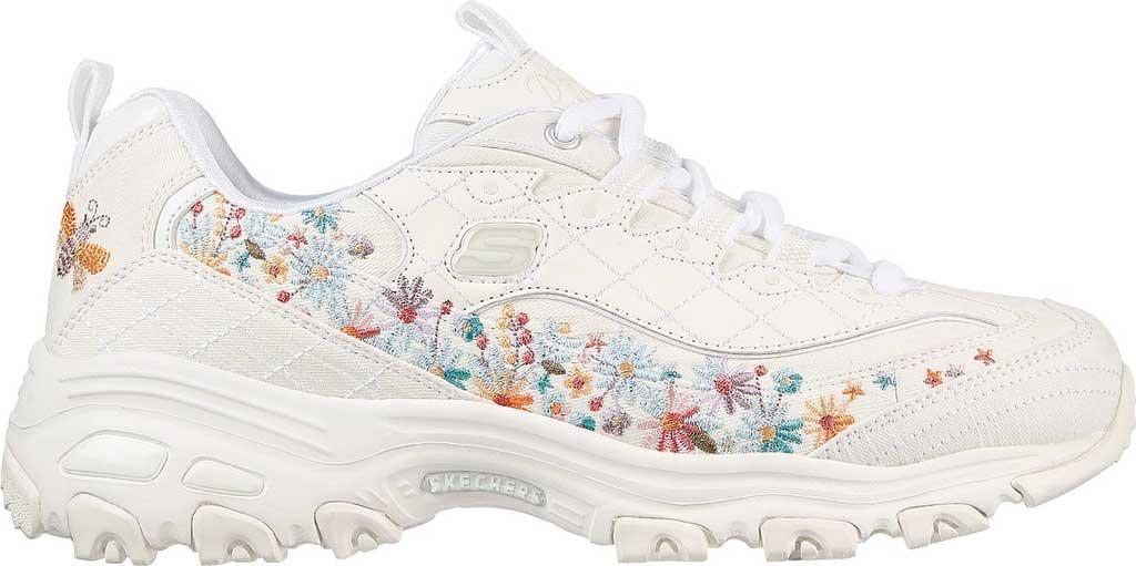 Women's Skechers D'Lites Floral Motion Sneaker, White, large, image 2