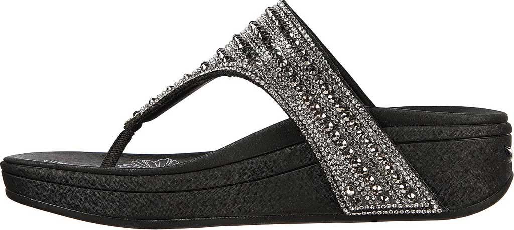 Women's Skechers Arch Fit Retrogrades Thong Sandal, Black, large, image 3