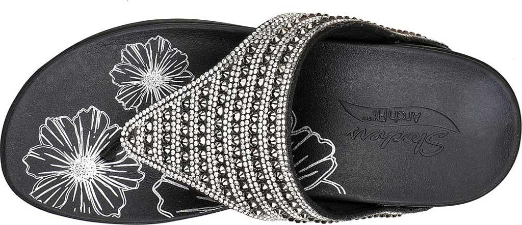 Women's Skechers Arch Fit Retrogrades Thong Sandal, Black, large, image 4