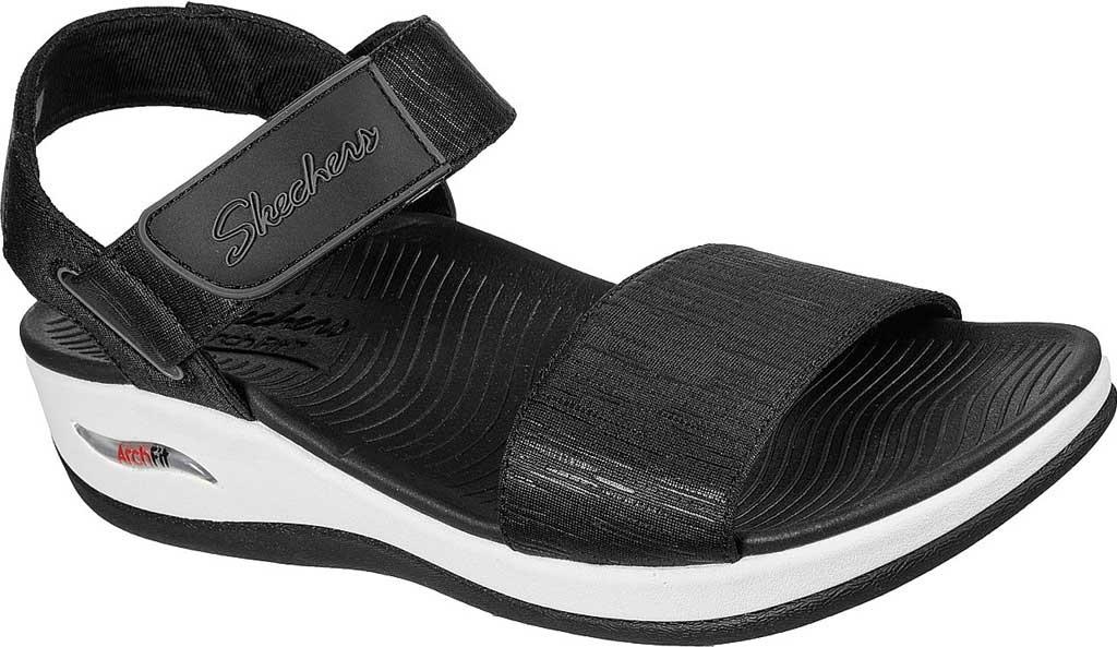 Women's Skechers Arch Fit Sunshine Wedge Vegan Strappy Sandal, Black, large, image 1