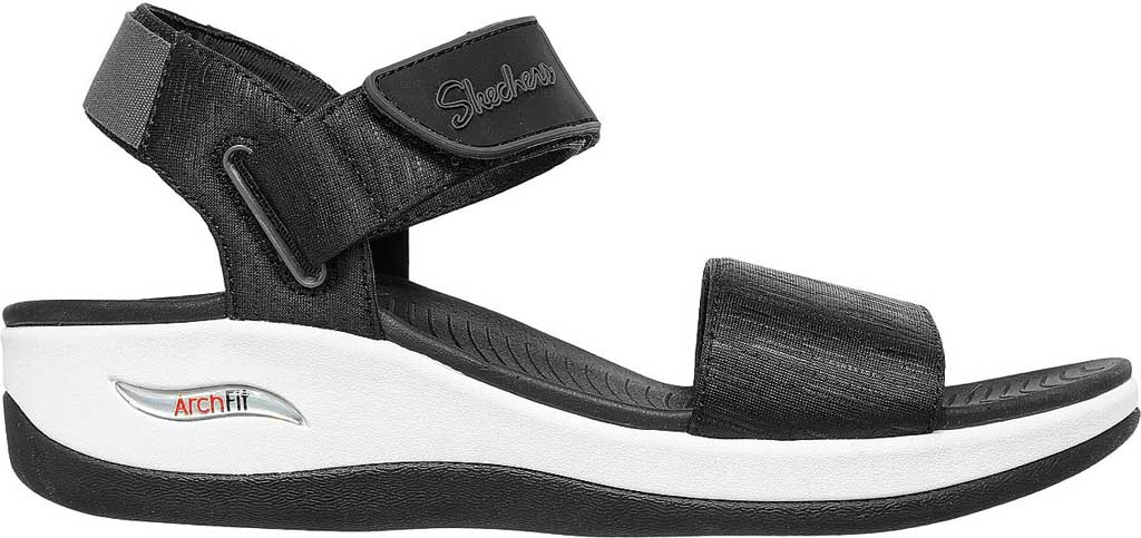 Women's Skechers Arch Fit Sunshine Wedge Vegan Strappy Sandal, Black, large, image 2
