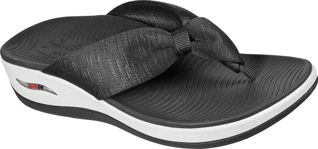 Women's Skechers Arch Fit Sunshine My Life Vegan Thong Sandal, Charcoal, large, image 1