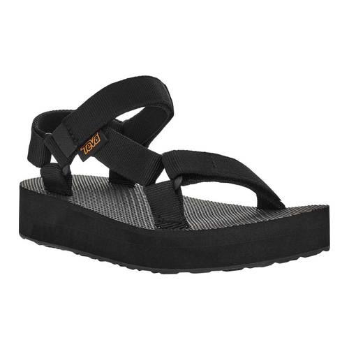 Children's Teva Midform Universal Flatform Strappy Sandal, Black Textile, large, image 1
