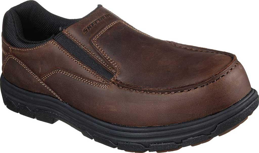 Men's Skechers Work Vicksburk Rubustle Composite Toe Loafer, Chocolate Dark Brown, large, image 1
