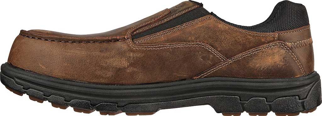 Men's Skechers Work Vicksburk Rubustle Composite Toe Loafer, Chocolate Dark Brown, large, image 3