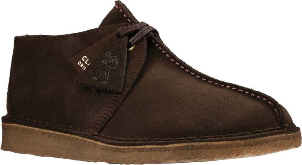 Men's Clarks Desert Trek Sneaker, Dark Brown Leather, large, image 1