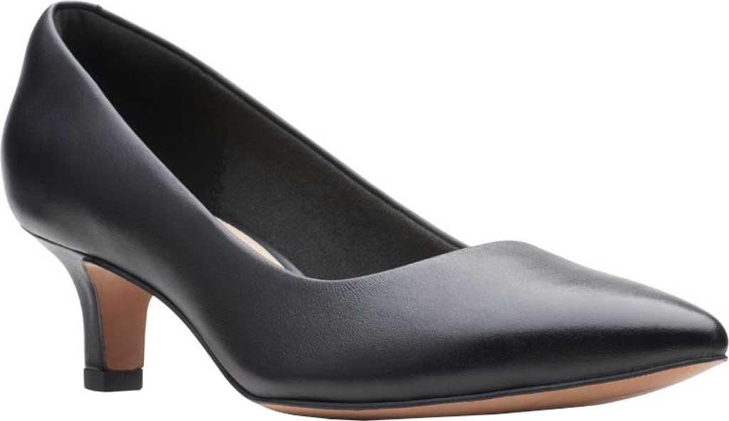 Women's Clarks Shondrah Jade Pump, Black Leather, large, image 1