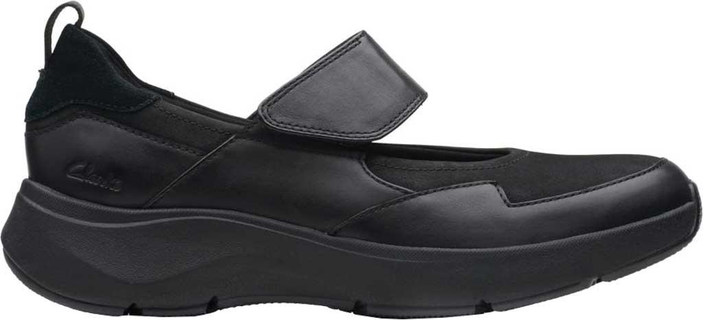 Women's Clarks Wave2.0 Glide. Mary Jane, Black Combination Nubuck/Leather, large, image 2
