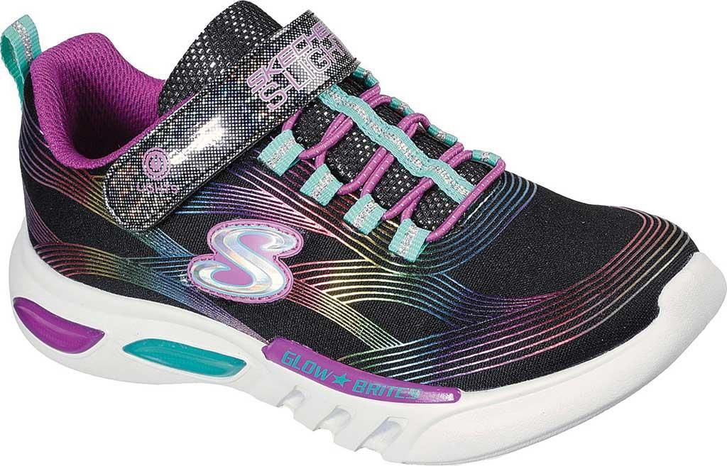 Girls' Skechers S Lights GlowBrites Sneaker, Black/Multi, large, image 1