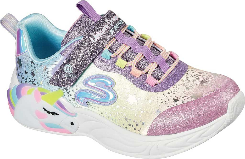 Girls' Skechers S-Lights: Unicorn Dreams, Purple/Multi, large, image 1