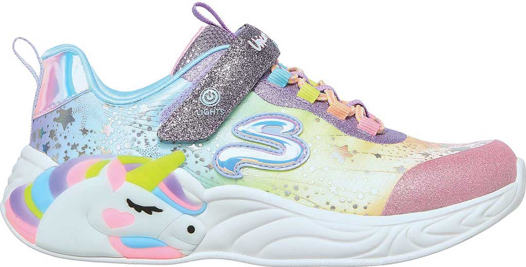 Girls' Skechers S-Lights: Unicorn Dreams, Purple/Multi, large, image 2