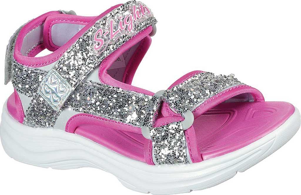 Girls' Skechers Glimmer Kicks Glittery Glam Strappy Sandal, Silver/Hot Pink, large, image 1
