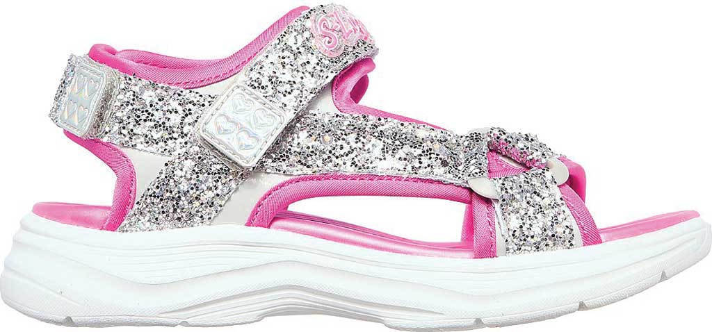 Girls' Skechers Glimmer Kicks Glittery Glam Strappy Sandal, Silver/Hot Pink, large, image 2