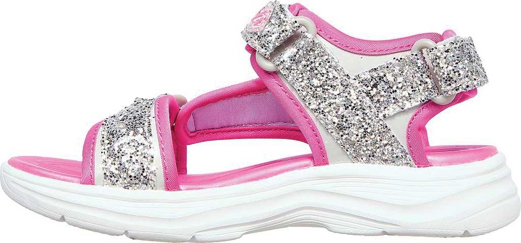 Girls' Skechers Glimmer Kicks Glittery Glam Strappy Sandal, Silver/Hot Pink, large, image 3