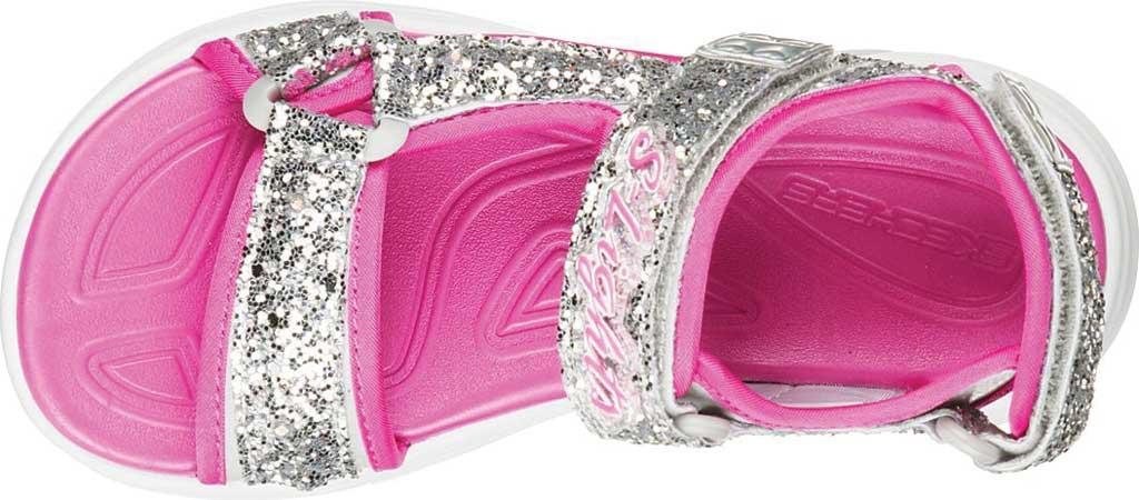 Girls' Skechers Glimmer Kicks Glittery Glam Strappy Sandal, Silver/Hot Pink, large, image 4