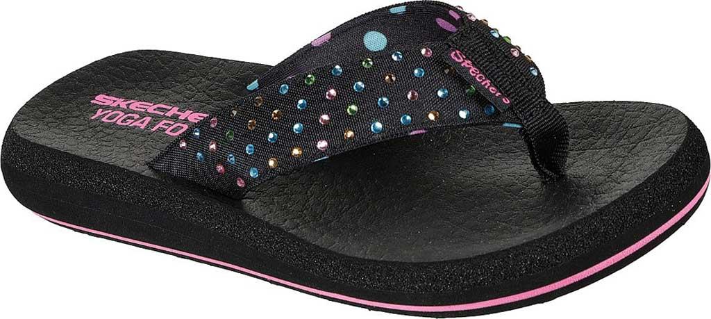 Girls' Skechers Asana Dazzling Day Thong Sandal, Black, large, image 1