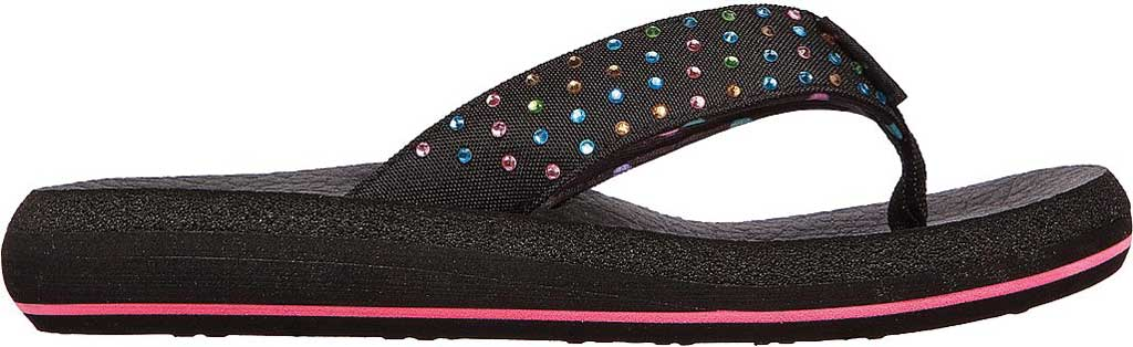 Girls' Skechers Asana Dazzling Day Thong Sandal, Black, large, image 2
