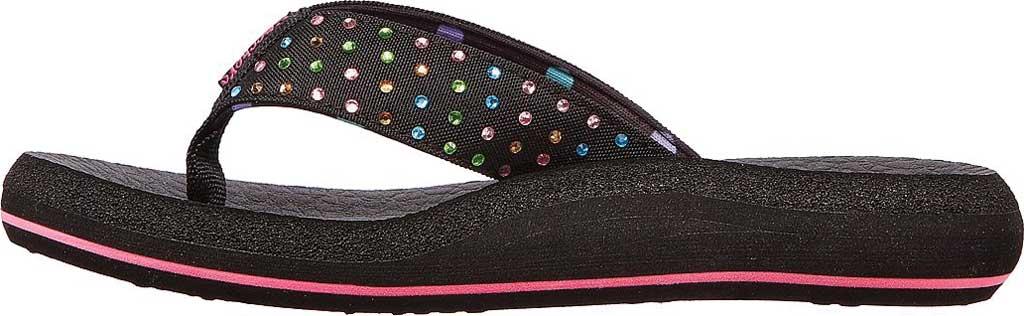 Girls' Skechers Asana Dazzling Day Thong Sandal, Black, large, image 3