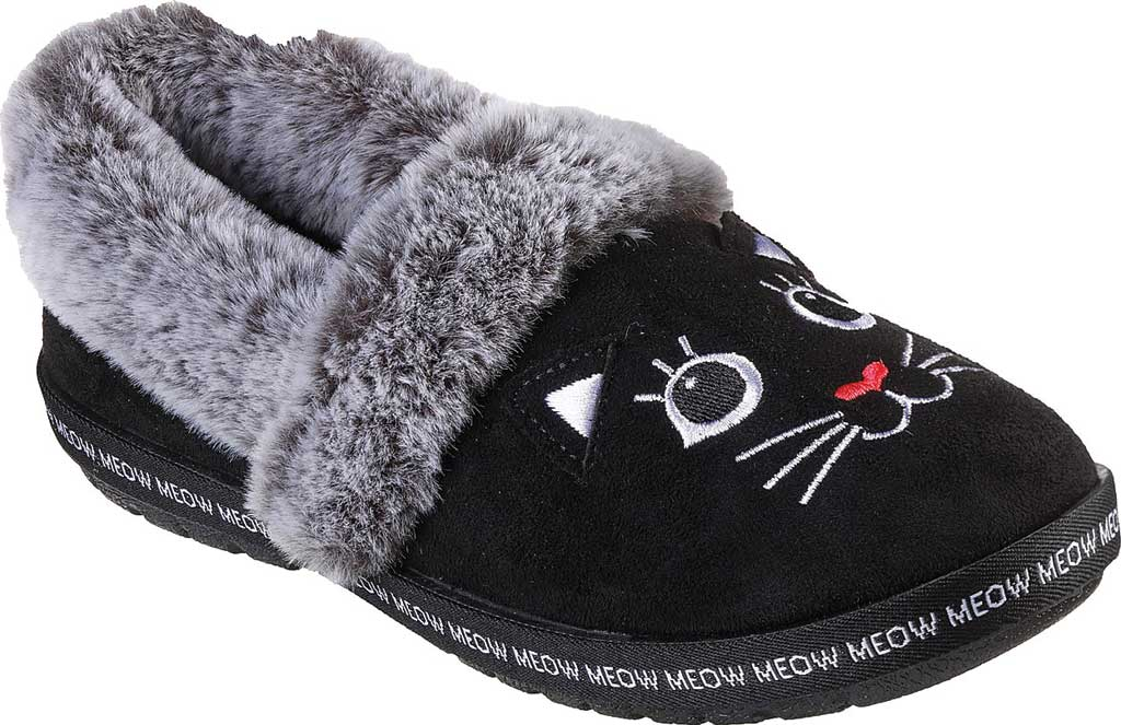 Women's Skechers BOBS Too Cozy Meow Pajamas Slipper, Black, large, image 1
