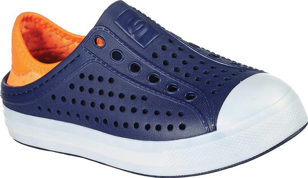 Boys' Skechers Foamies Guzman Flash Slip On Sneaker, Navy/Orange, large, image 1