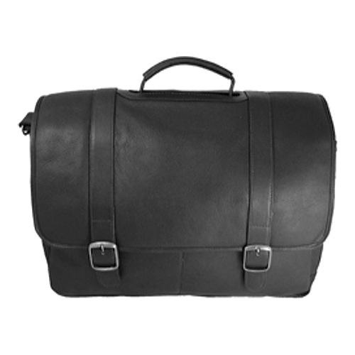 David King Leather 142 Porthole Laptop Briefcase, Black, large, image 1