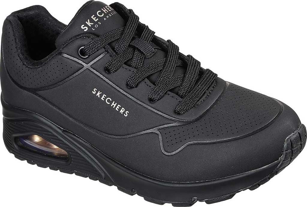 Women's Skechers Uno Stand on Air Sneaker, Black/Black, large, image 1