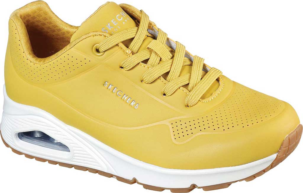 Women's Skechers Uno Stand on Air Sneaker, Yellow/White, large, image 1