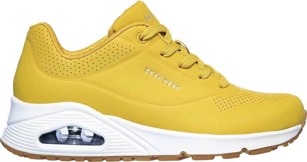 Women's Skechers Uno Stand on Air Sneaker, Yellow/White, large, image 2