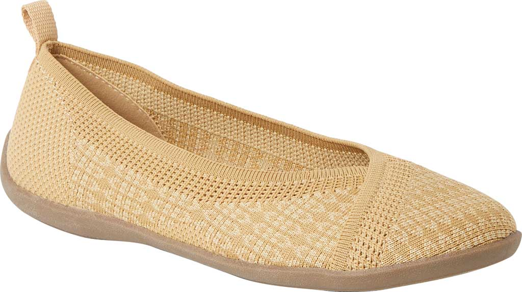 Women's Original Comfort by Dearfoams Nadia Knit Ballet Flat, Curry Knit Synthetic, large, image 1