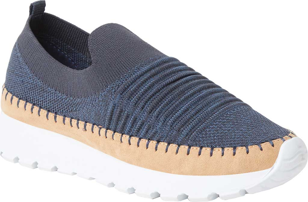 Women's Original Comfort by Dearfoams Marina Knit Platform Slip On Sneaker, India Ink Knit Synthetic, large, image 1