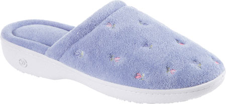 Women's Isotoner Terry Floral Embroidered Clog, Periwinkle, large, image 1