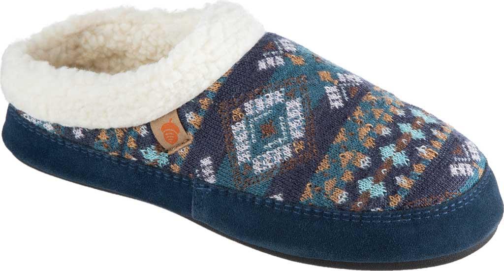 Women's Acorn Fairisle Hoodback Clog Slipper, Blue Multi Polyester Knit, large, image 1